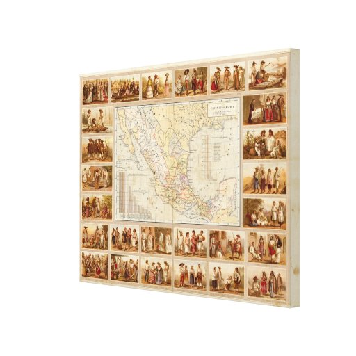 Ethnographic Chart of Mexico Gallery Wrapped Canvas