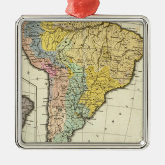 Ethnographic Map of South America Silver-Colored Square Decoration