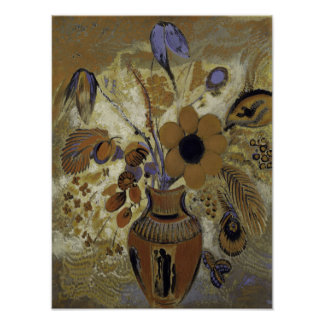 Etruscan Vase with Flowers Poster