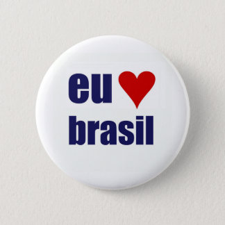eu amo brasil 6 cm round badge
