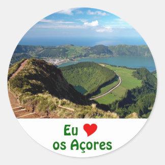 Eu Amo os Açores Round Sticker