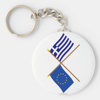 EU and Greece Crossed Flags Key Chain