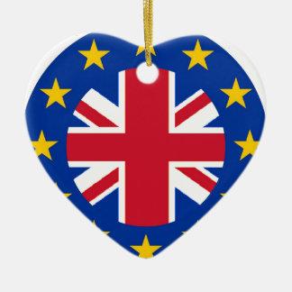 EU - European Union Flag - Union Jack Ceramic Heart Decoration