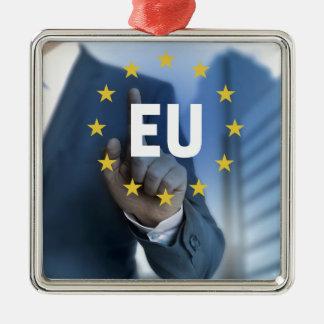 EU European Union touchscreen concept Silver-Colored Square Decoration