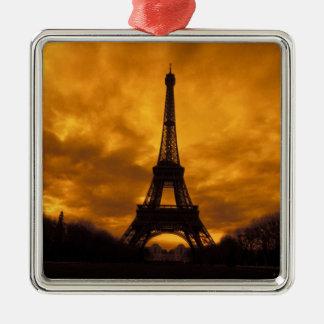 EU, France, Paris.  Eiffel Tower. Silver-Colored Square Decoration