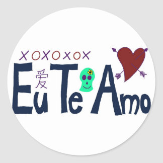 Eu Te Amo Classic Round Sticker