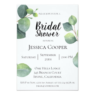 Eucalyptus Branches Bridal Shower Invitation