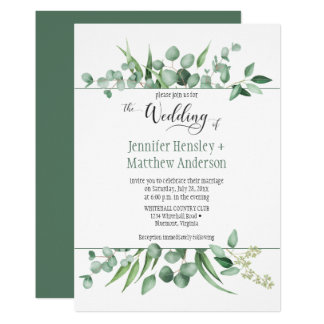 Eucalyptus Envy Framed Wedding Invitation