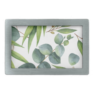 Eucalyptus Foliage Pattern Rectangular Belt Buckles