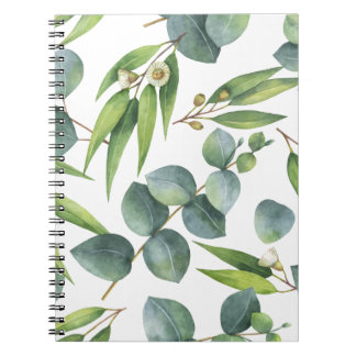 Eucalyptus Foliage Pattern Spiral Notebook