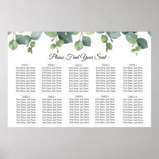 Eucalyptus Foliage Wedding Seating Chart