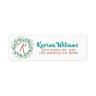 Eucalyptus Green Leafs Wreath Beauty & Wellness Return Address Label