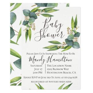 Eucalyptus Greenery Baby Shower Invitation