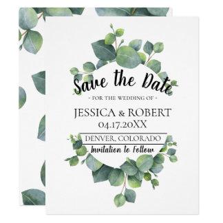 Eucalyptus Greenery Wedding Save the Date Card
