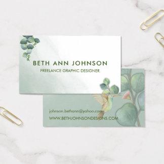 Eucalyptus Hummingbird Business Card Design