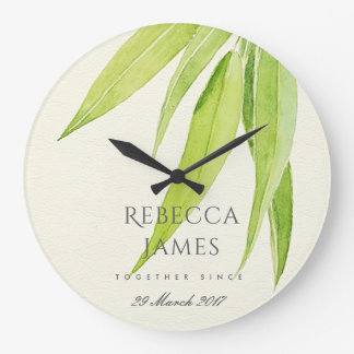 EUCALYPTUS LEAF FOLIAGE SAVE THE DATE WEDDING GIFT LARGE CLOCK