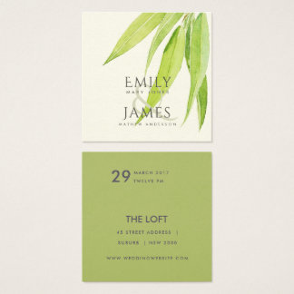 EUCALYPTUS LEAF WATERCOLOUR FOLIAGE WEDDING SQUARE BUSINESS CARD