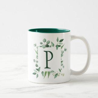 Eucalyptus Leaves Frame Monogram Two-Tone Coffee Mug