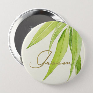 EUCALYPTUS LEAVES WATERCOLOUR FOLIAGE GROOM 10 CM ROUND BADGE