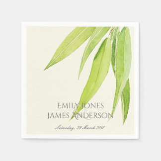 EUCALYPTUS LEAVES WATERCOLOUR FOLIAGE MONOGRAM PAPER NAPKINS
