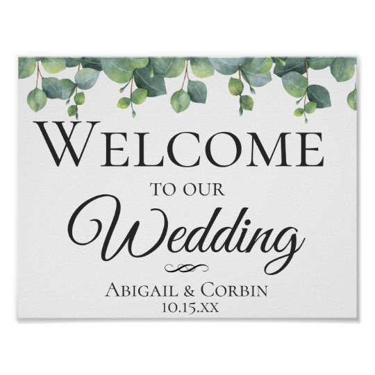 Eucalyptus Leaves Wedding Welcome Poster