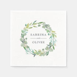 Eucalyptus Wreath | Botanical Personalized Wedding Disposable Napkin