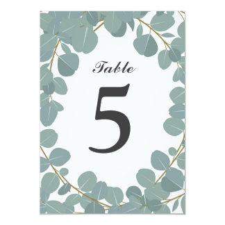 Eucalyptus Wreath Greenery Wedding Table Number Card