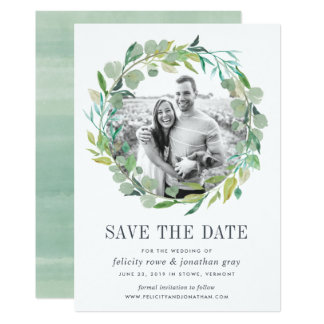 Eucalyptus Wreath Photo Save the Date Card