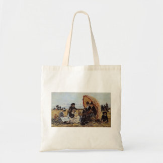 Eugene Boudin-Trouville Beach Sheltered by Parasol Tote Bag