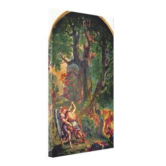 Eugene Delacroix - Jacob wrestling with angel Canvas Print