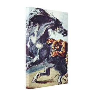 Eugene Delacroix - Tiger attacks a horse Gallery Wrap Canvas