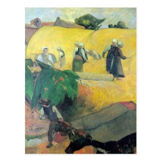Eugène Henri Paul Gauguin - Harvest In Brittany Postcard