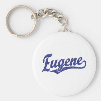 Eugene script logo in blue key ring