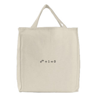 Euler's identity embroidered tote bag