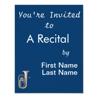 "euphonium brass instrument music realistic.png 4.25"" x 5.5"" invitation card"