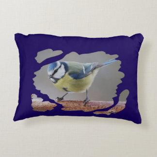 Eurasian blue tit - Photography Jean Louis Glineur Decorative Cushion