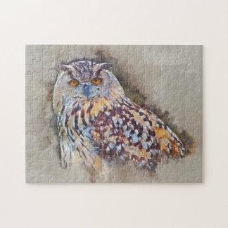 Eurasian Eagle Owl Painting Jigsaw Puzzle