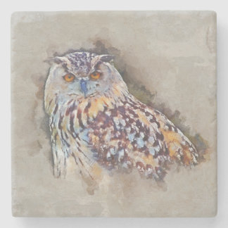 Eurasian Eagle Owl Painting Stone Coaster