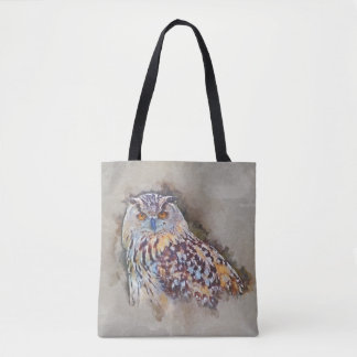 Eurasian Eagle Owl Painting Tote Bag