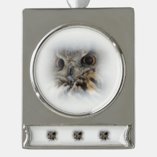 Eurasian Eagle-owl Silver Plated Banner Ornament