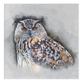 Eurasian Eagle Owl Watercolor Portrait Acrylic Print