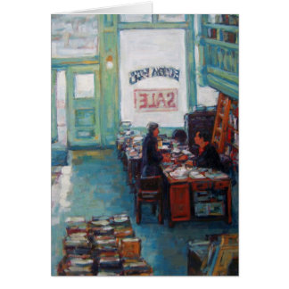 """Eureka Books Sale"" oil painting by Linda Mitchell Card"