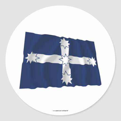 Eureka Stockade Waving Flag Round Stickers