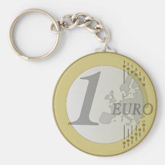Euro coin basic round button key ring