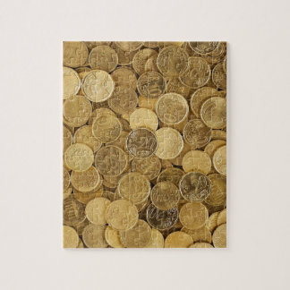 Euro Coins Currency Money Yellow Market Europe Jigsaw Puzzle