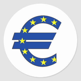 euro currency symbol money sign classic round sticker