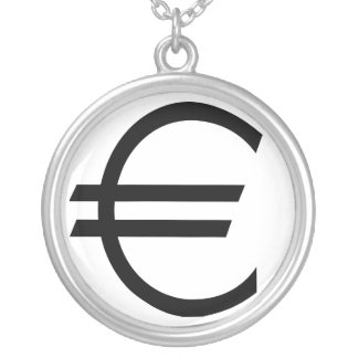Euro Sign Round Pendant Necklace