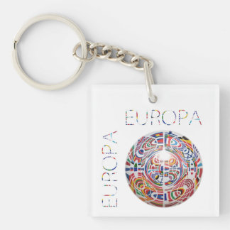 Europa Double-Sided Square Acrylic Key Ring