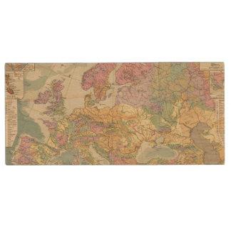 Europa - Geologic Map of Europe Wood USB 2.0 Flash Drive