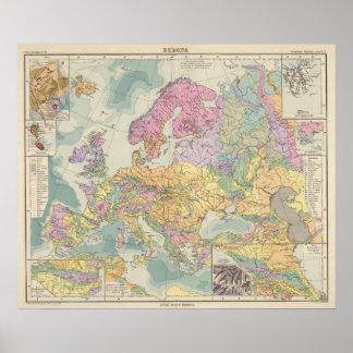 Europa - Geologic Map of Europe Poster